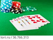 Royal flush, royal straight flush, im Poker Spiel. Стоковое фото, фотограф Zoonar.com/3523Studio / easy Fotostock / Фотобанк Лори
