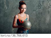 Young girl professional gymnast woman portrait rhythmic gymnastics... Стоковое фото, фотограф Zoonar.com/Max / easy Fotostock / Фотобанк Лори