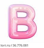 Pink latex glossy font Letter B 3D rendering illustration isolated... Стоковое фото, фотограф Zoonar.com/Milic Djurovic / easy Fotostock / Фотобанк Лори