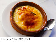 Tasty dessert catalana crema served with caramel crust, nobody. Стоковое фото, фотограф Яков Филимонов / Фотобанк Лори