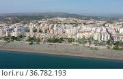 Panoramic aerial view of Torre del Mar by Mediterranean coast on sunny fall day, Axarquia, Spain. Стоковое видео, видеограф Яков Филимонов / Фотобанк Лори