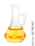 Glass jug with vegetable oil isolated on white background. Стоковое фото, фотограф Zoonar.com/Valery Voennyy / easy Fotostock / Фотобанк Лори