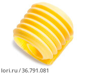 Butter curl or roll isolated on white, top view. Стоковое фото, фотограф Zoonar.com/Max Tat / easy Fotostock / Фотобанк Лори
