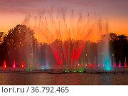 Fountain at Centennial Hall in Wroclaw, Poland multimedia laser colorful... Стоковое фото, фотограф Zoonar.com/Nataliya Nazarova / easy Fotostock / Фотобанк Лори