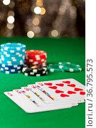 Royal flush, royal straight flush, im Poker Spiel. Стоковое фото, фотограф Zoonar.com/Ulrich Schade / easy Fotostock / Фотобанк Лори