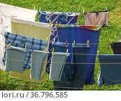 Waschtag, aufgehängte Wäsche, Стоковое фото, фотограф Zoonar.com/Bildagentur Geduldig / easy Fotostock / Фотобанк Лори