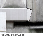 Close up details of geometric grey textured concrete panels on an... Стоковое фото, фотограф Zoonar.com/Philip Openshaw / easy Fotostock / Фотобанк Лори