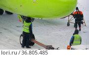 Passenger plane S7 Airlines, snowy. Редакционное видео, видеограф Игорь Жоров / Фотобанк Лори