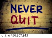 Never Quit Concept. Стоковое фото, фотограф Zoonar.com/Krasimira Nevenova / easy Fotostock / Фотобанк Лори