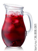 Iced pomegranate drink in a glass pitcher, isolated. Стоковое фото, фотограф Zoonar.com/Max Tat / easy Fotostock / Фотобанк Лори