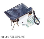 Open small blue leather wristlet pouch bag with phone, credit cards... Стоковое фото, фотограф Zoonar.com/Valery Voennyy / easy Fotostock / Фотобанк Лори