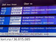 Anzeigetafel im Bahnhof Dessau-Roßlau Deutschland. Стоковое фото, фотограф Zoonar.com/stockfotos-mg / easy Fotostock / Фотобанк Лори