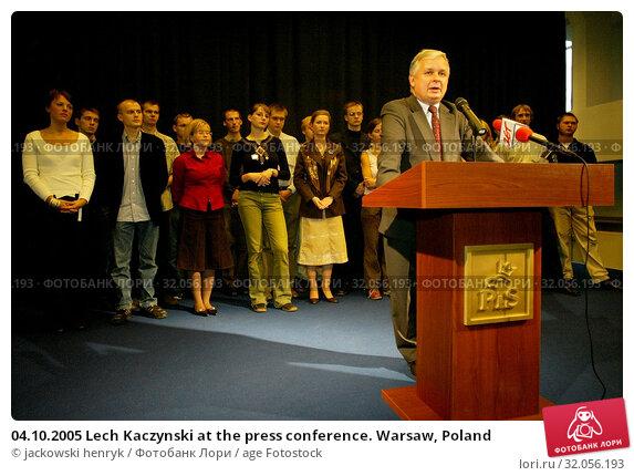 04.10.2005 Lech Kaczynski at the press conference. Warsaw, Poland. Редакционное фото, фотограф jackowski henryk / age Fotostock / Фотобанк Лори