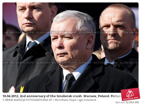 10.04.2012. 2nd anniversary of the Smolensk crush. Warsaw, Poland. Pictured: Jaroslaw Kaczynski. Редакционное фото, фотограф BE&W AGENCJA FOTOGRAFICZNA SP. / age Fotostock / Фотобанк Лори