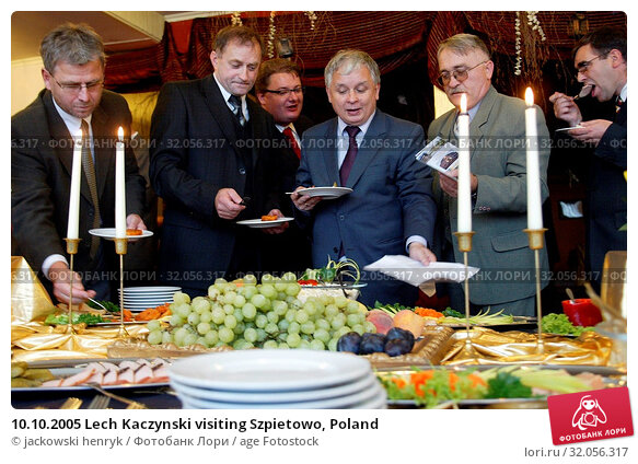 10.10.2005 Lech Kaczynski visiting Szpietowo, Poland. Редакционное фото, фотограф jackowski henryk / age Fotostock / Фотобанк Лори