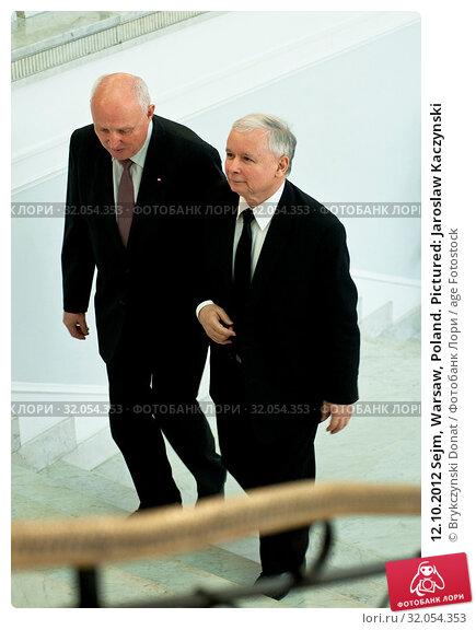 12.10.2012 Sejm, Warsaw, Poland. Pictured: Jaroslaw Kaczynski. Редакционное фото, фотограф Brykczynski Donat / age Fotostock / Фотобанк Лори