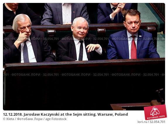 12.12.2018. Jaroslaw Kaczynski at the Sejm sitting. Warsaw, Poland. Редакционное фото, фотограф Kleta / age Fotostock / Фотобанк Лори