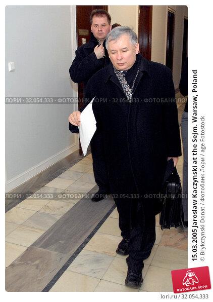 15.03.2005 Jaroslaw Kaczynski at the Sejm. Warsaw, Poland. Редакционное фото, фотограф Brykczynski Donat / age Fotostock / Фотобанк Лори
