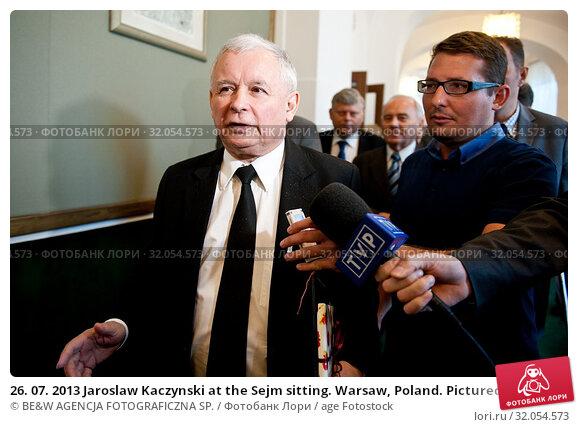 26. 07. 2013 Jaroslaw Kaczynski at the Sejm sitting. Warsaw, Poland. Pictured: Jaroslaw Kaczynski. Редакционное фото, фотограф BE&W AGENCJA FOTOGRAFICZNA SP. / age Fotostock / Фотобанк Лори