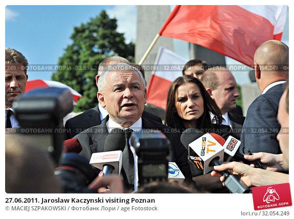 27.06.2011. Jaroslaw Kaczynski visiting Poznan. Редакционное фото, фотограф MACIEJ SZPAKOWSKI / age Fotostock / Фотобанк Лори
