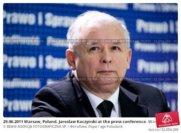 29.06.2011 Warsaw, Poland. Jaroslaw Kaczynski at the press conference. Warsaw, Poland. Редакционное фото, фотограф BE&W AGENCJA FOTOGRAFICZNA SP. / age Fotostock / Фотобанк Лори