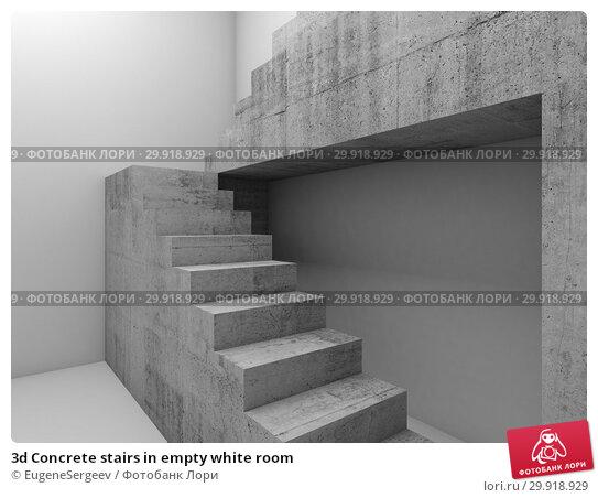 Купить «3d Concrete stairs in empty white room», иллюстрация № 29918929 (c) EugeneSergeev / Фотобанк Лори