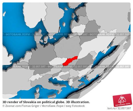 3D render of Slovakia on political globe. 3D illustration. Стоковое фото, фотограф Zoonar.com/Tomas Griger / easy Fotostock / Фотобанк Лори
