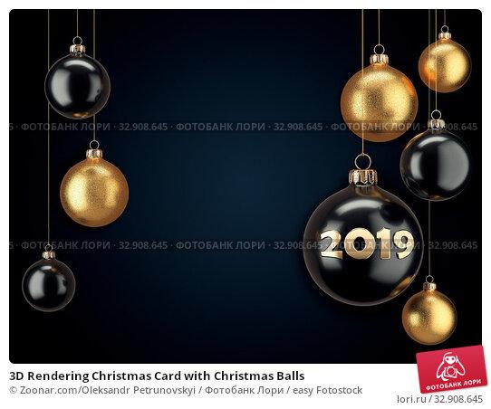 3D Rendering Christmas Card with Christmas Balls. Стоковое фото, фотограф Zoonar.com/Oleksandr Petrunovskyi / easy Fotostock / Фотобанк Лори