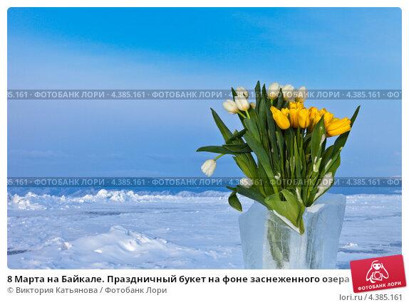 Купить «8 Марта на Байкале. Праздничный букет на фоне заснеженного озера», фото № 4385161, снято 9 марта 2013 г. (c) Виктория Катьянова / Фотобанк Лори
