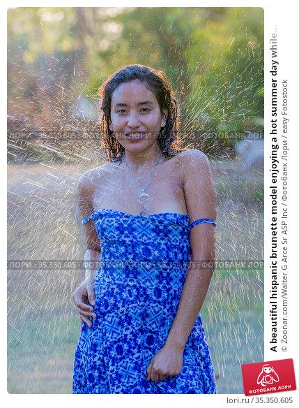 A beautiful hispanic brunette model enjoying a hot summer day while... Стоковое фото, фотограф Zoonar.com/Walter G Arce Sr ASP Inc / easy Fotostock / Фотобанк Лори