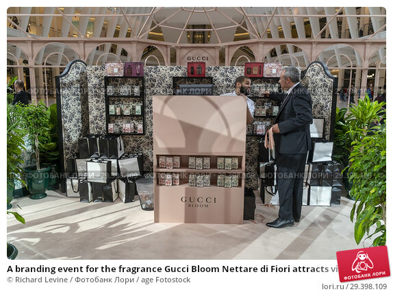 Купить «A branding event for the fragrance Gucci Bloom Nettare di Fiori attracts visitors at the Oculus at the World Trade Center on Sunday, September 9, 2018...», фото № 29398109, снято 9 сентября 2018 г. (c) age Fotostock / Фотобанк Лори