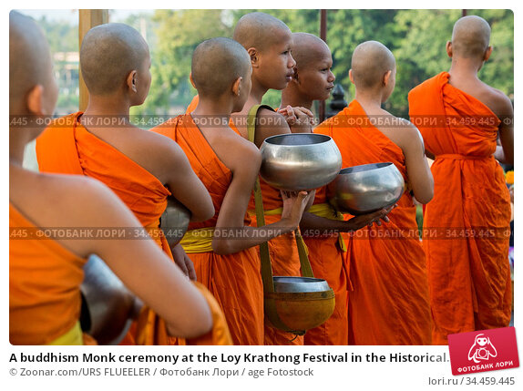 A buddhism Monk ceremony at the Loy Krathong Festival in the Historical... Стоковое фото, фотограф Zoonar.com/URS FLUEELER / age Fotostock / Фотобанк Лори