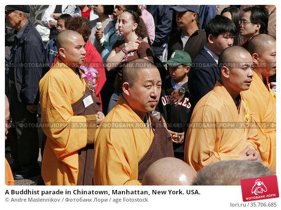 A Buddhist parade in Chinatown, Manhattan, New York. USA. (2005 год). Редакционное фото, фотограф Andre Maslennikov / age Fotostock / Фотобанк Лори