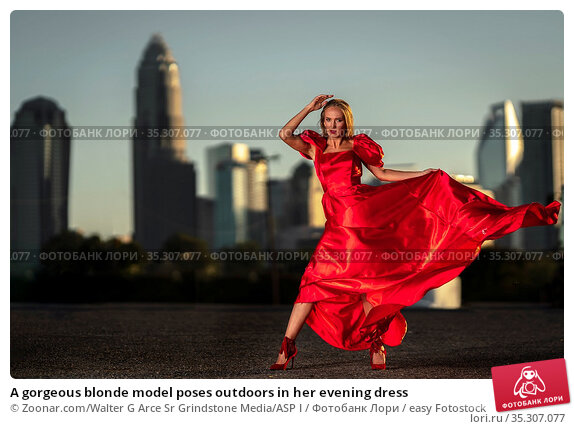 A gorgeous blonde model poses outdoors in her evening dress. Стоковое фото, фотограф Zoonar.com/Walter G Arce Sr Grindstone Media/ASP I / easy Fotostock / Фотобанк Лори