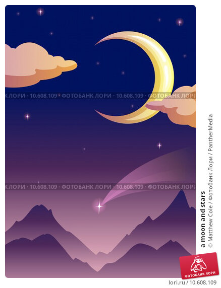 a moon and stars. Стоковая иллюстрация, иллюстратор Matthew Cole / PantherMedia / Фотобанк Лори