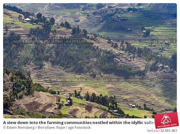 A view down into the farming communities nestled within the idyllic valleys outside Mekele, Ethiopia. Mekele, Ethiopia. Стоковое фото, фотограф Edwin Remsberg / age Fotostock / Фотобанк Лори