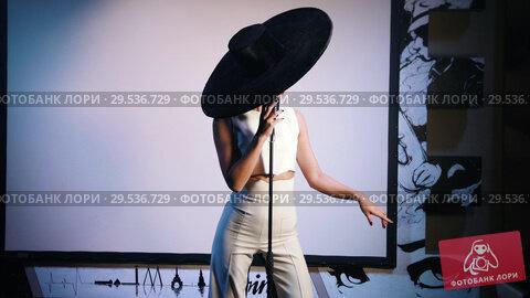 Купить «A woman in big black hat standing on the stage and singing», видеоролик № 29536729, снято 11 декабря 2018 г. (c) Константин Шишкин / Фотобанк Лори