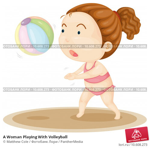 A Woman Playing With Volleyball. Стоковая иллюстрация, иллюстратор Matthew Cole / PantherMedia / Фотобанк Лори