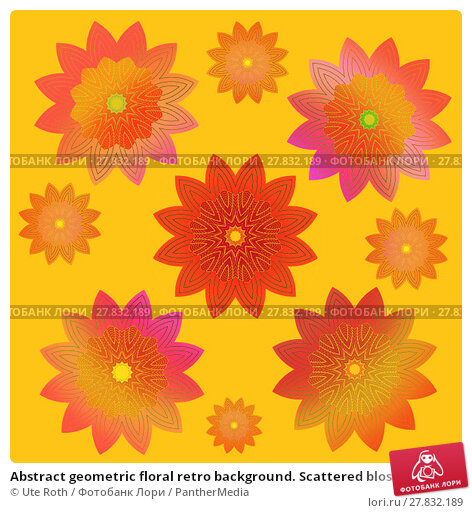 Купить «Abstract geometric floral retro background. Scattered blossoms in pink, yellow, orange, red and violet shades on yellow, conspicuous and vividly.», фото № 27832189, снято 18 февраля 2018 г. (c) PantherMedia / Фотобанк Лори
