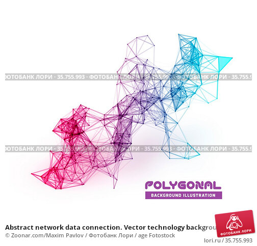 Abstract network data connection. Vector technology background on... Стоковое фото, фотограф Zoonar.com/Maxim Pavlov / age Fotostock / Фотобанк Лори