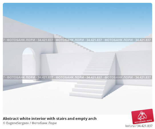 Abstract white interior with stairs and empty arch. Стоковая иллюстрация, иллюстратор EugeneSergeev / Фотобанк Лори