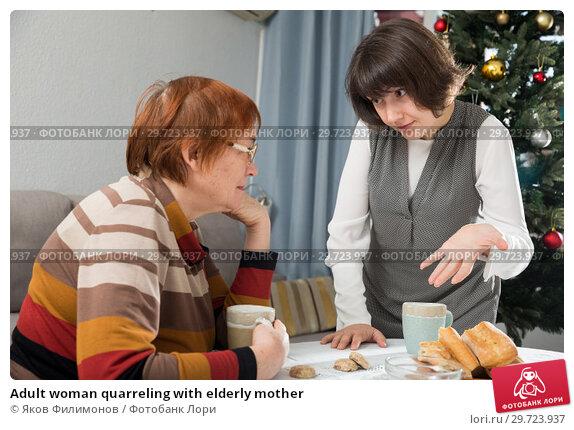 Купить «Adult woman quarreling with elderly mother», фото № 29723937, снято 21 апреля 2019 г. (c) Яков Филимонов / Фотобанк Лори