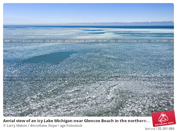Aerial view of an icy Lake Michigan near Glencoe Beach in the northern... Стоковое фото, фотограф Larry Malvin / age Fotostock / Фотобанк Лори