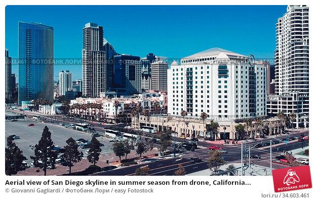 Aerial view of San Diego skyline in summer season from drone, California... Стоковое фото, фотограф Giovanni Gagliardi / easy Fotostock / Фотобанк Лори