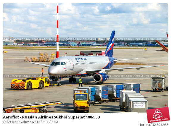 Купить «Aeroflot - Russian Airlines Sukhoi Superjet 100-95B», фото № 32391953, снято 8 сентября 2019 г. (c) Art Konovalov / Фотобанк Лори