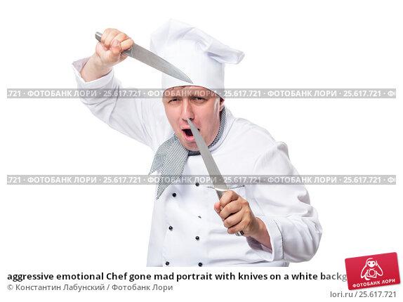 Купить «aggressive emotional Chef gone mad portrait with knives on a white background», фото № 25617721, снято 20 июня 2016 г. (c) Константин Лабунский / Фотобанк Лори