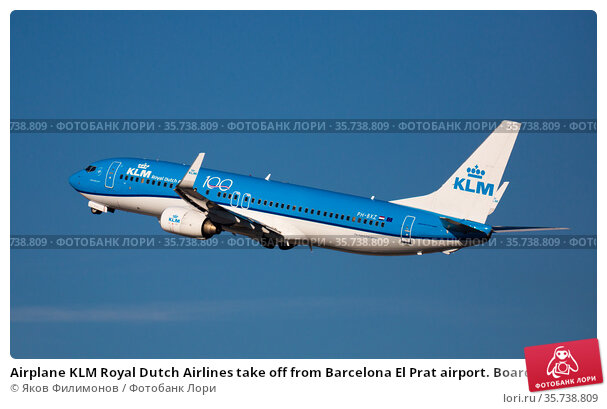 Airplane KLM Royal Dutch Airlines take off from Barcelona El Prat airport. Board number PH-BXZ (2020 год). Редакционное фото, фотограф Яков Филимонов / Фотобанк Лори