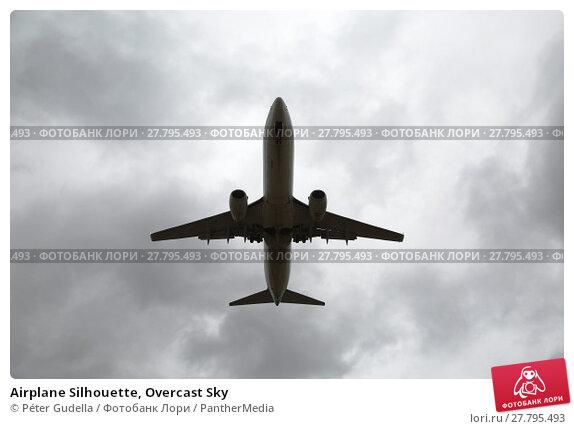 Купить «Airplane Silhouette, Overcast Sky», фото № 27795493, снято 18 октября 2018 г. (c) PantherMedia / Фотобанк Лори