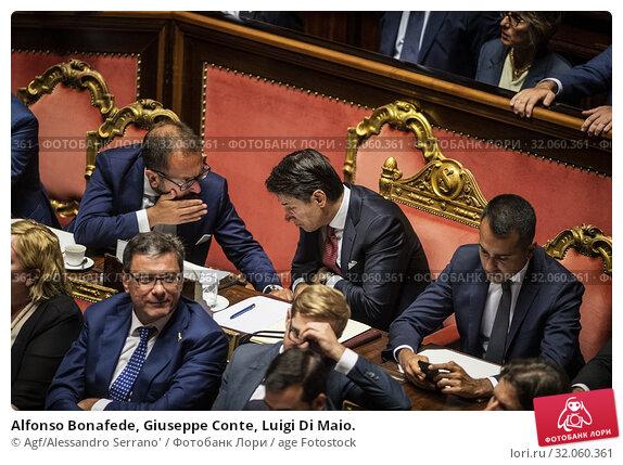 Alfonso Bonafede, Giuseppe Conte, Luigi Di Maio. (2019 год). Редакционное фото, фотограф Agf/Alessandro Serrano' / age Fotostock / Фотобанк Лори