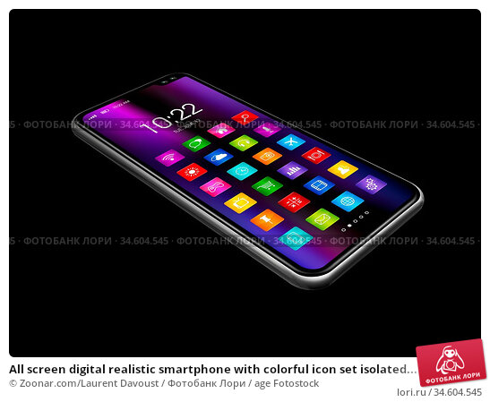All screen digital realistic smartphone with colorful icon set isolated... Стоковое фото, фотограф Zoonar.com/Laurent Davoust / age Fotostock / Фотобанк Лори
